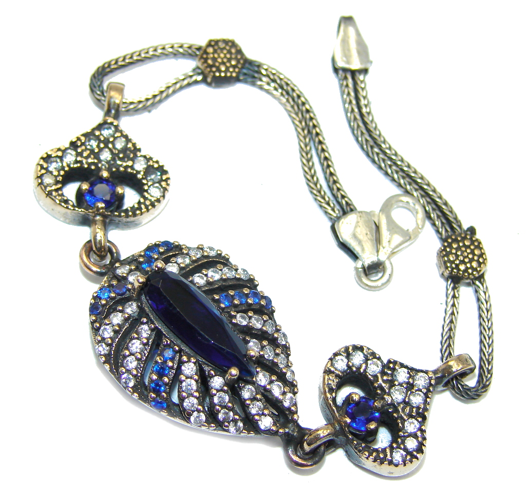 Victorian Style Created Blue Sapphire & White Topaz Sterling Silver Bracelet