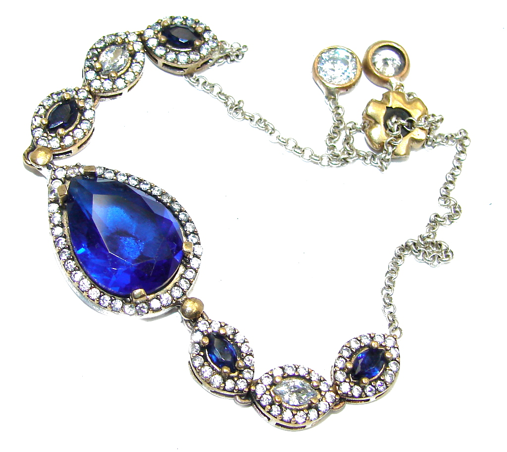 Victorian Style created Sapphire  & White Topaz Sterling Silver Bracelet