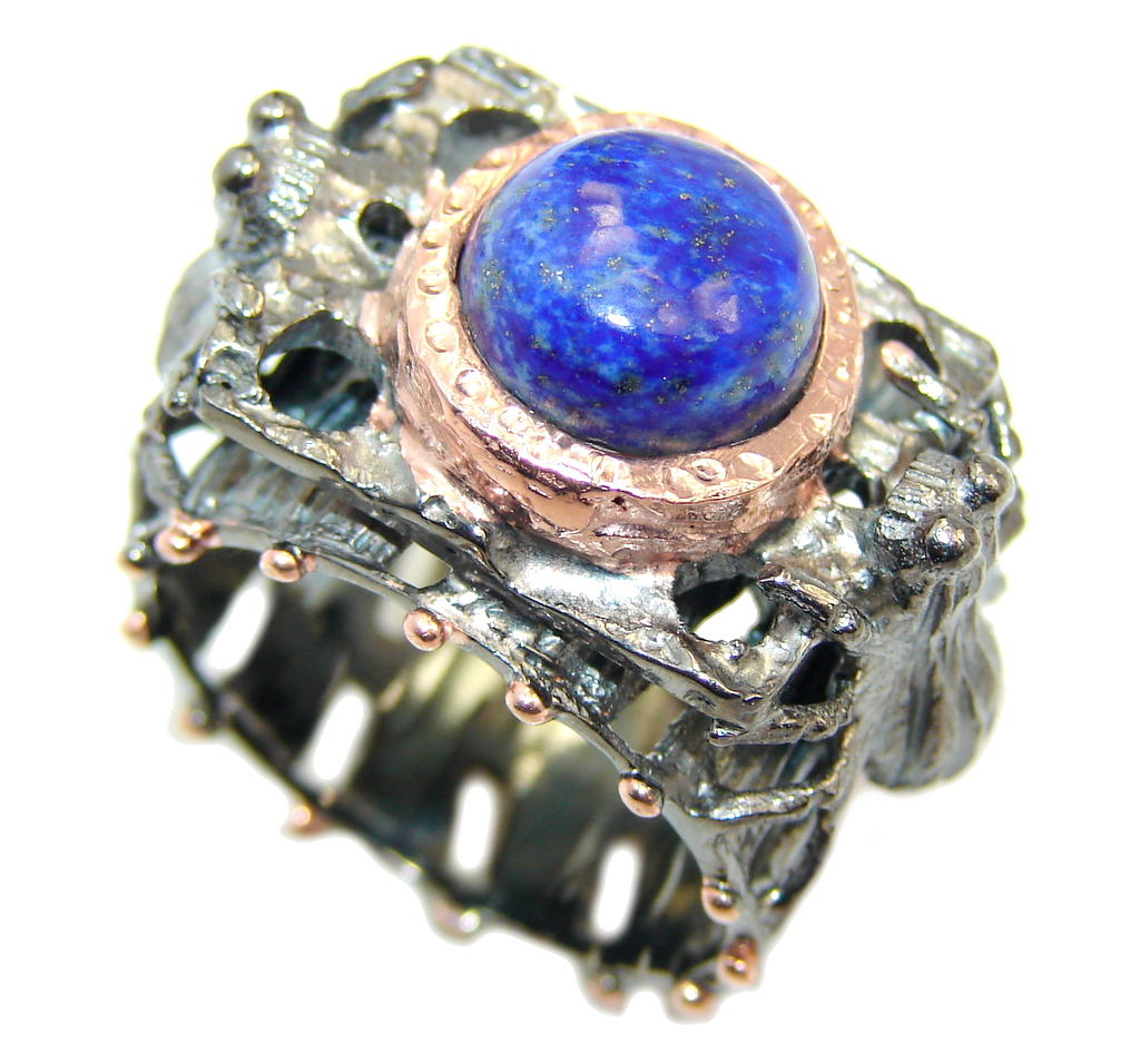 Black Spiders AAA Lapis Lzuli & Rhodium Plated Sterling Silver ring s. 8