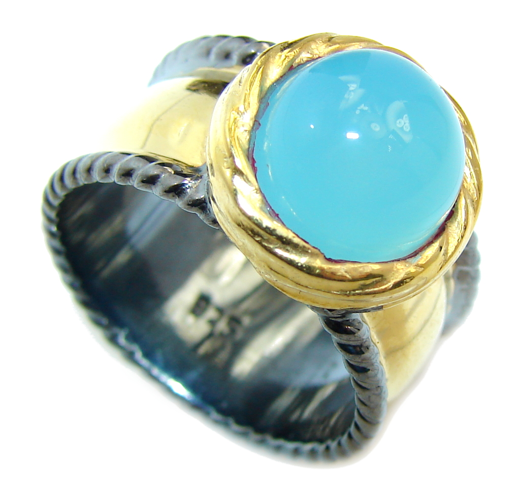 Blue Chalcedony Agate Gold Rhodium plated over Sterling Silver Ring s. 7