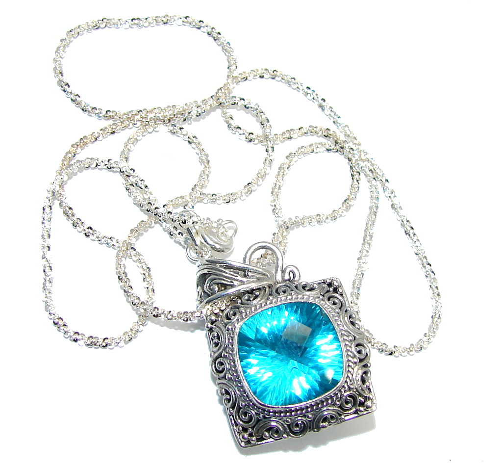 Amazing Beauty Blue Magic Topaz Sterling Silver Bali made necklace