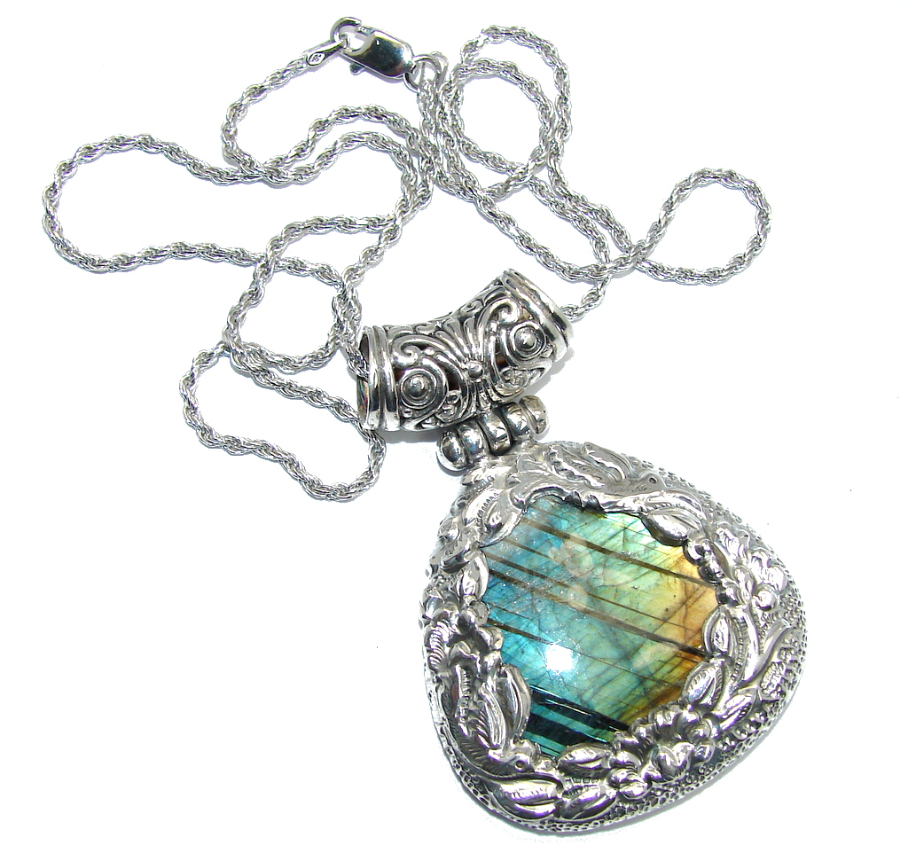 Huge Bold Moon AAA Fire  Labradorite Sterling Silver Bali handcrafted necklace