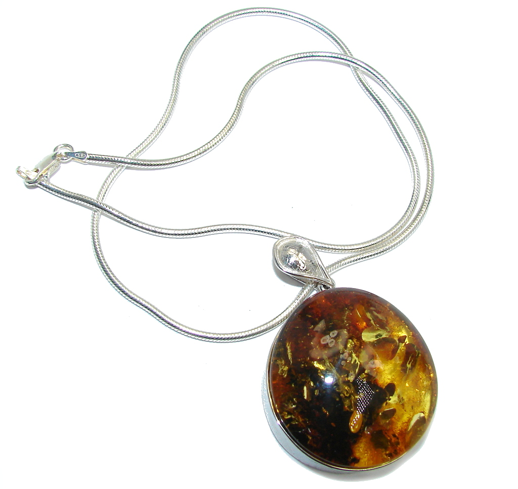 Romantic Design Baltic Polish Amber  Sterling Silver necklace