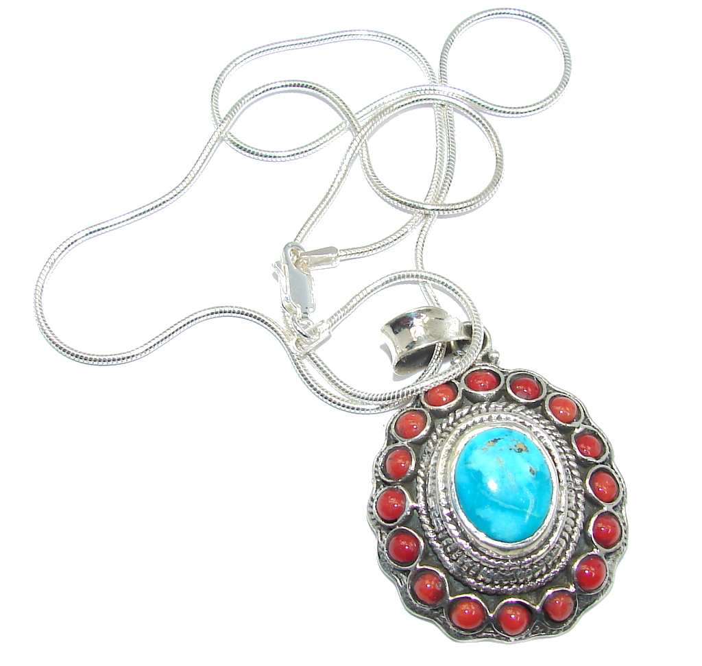 South West Style Beauty Coral Turquoise Sterling Silver Necklace