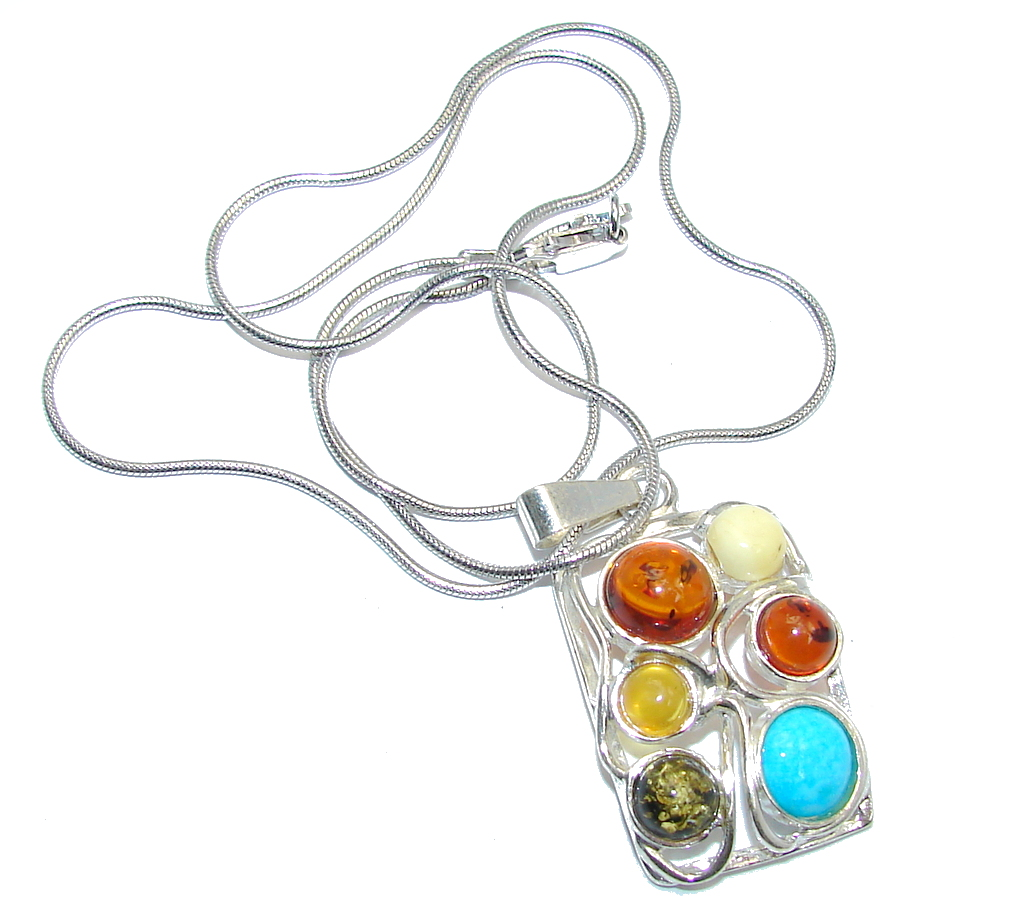 Romantic Design Baltic Polish Amber Turquoise  Sterling Silver necklace