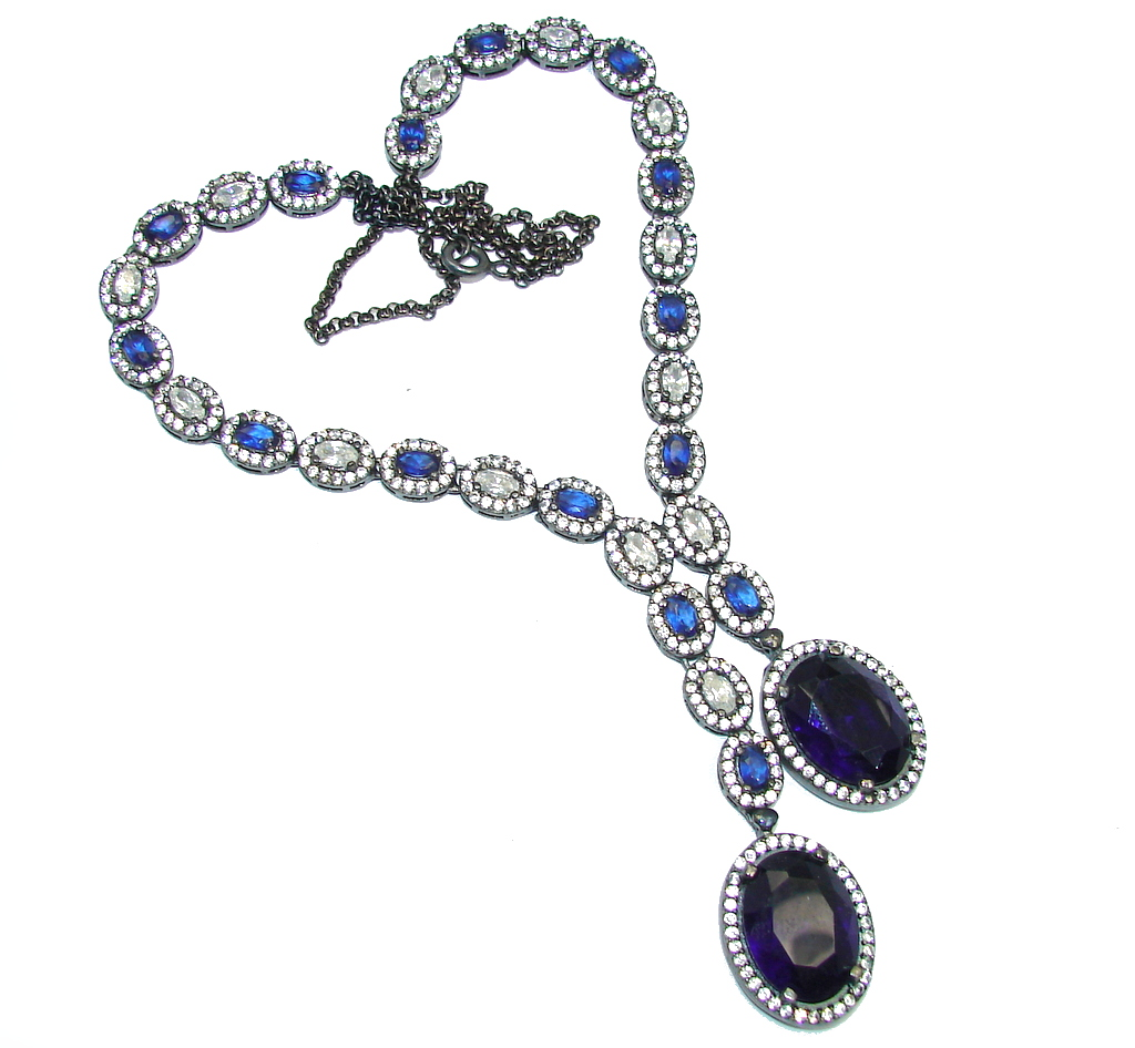 Elegant Victorian Style created Sapphire Ruby & White Topaz Sterling Silver necklace