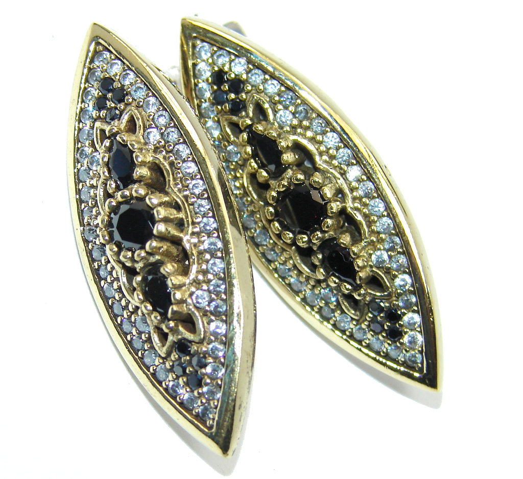 Large Victorian Style Onyx Ruby Sterling Silver Earrings