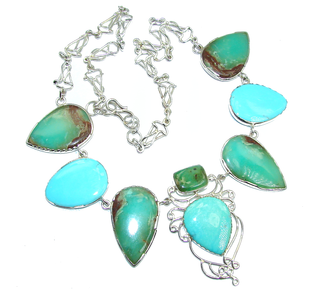 Great quality Corrico Lake Turquoise Chrysocolla Sterling Silver Necklace