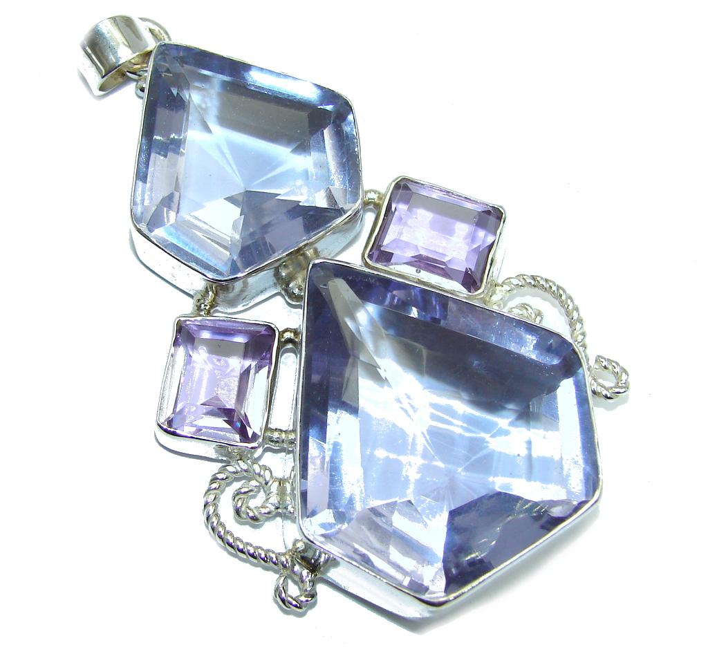 Amazing created Tanzanite color Quartz Sterling Silver Pendant