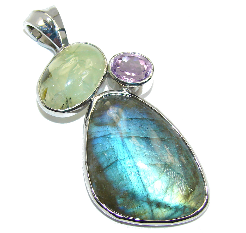 Amazing Blue Fire Labradorite Sterling Silver Pendant