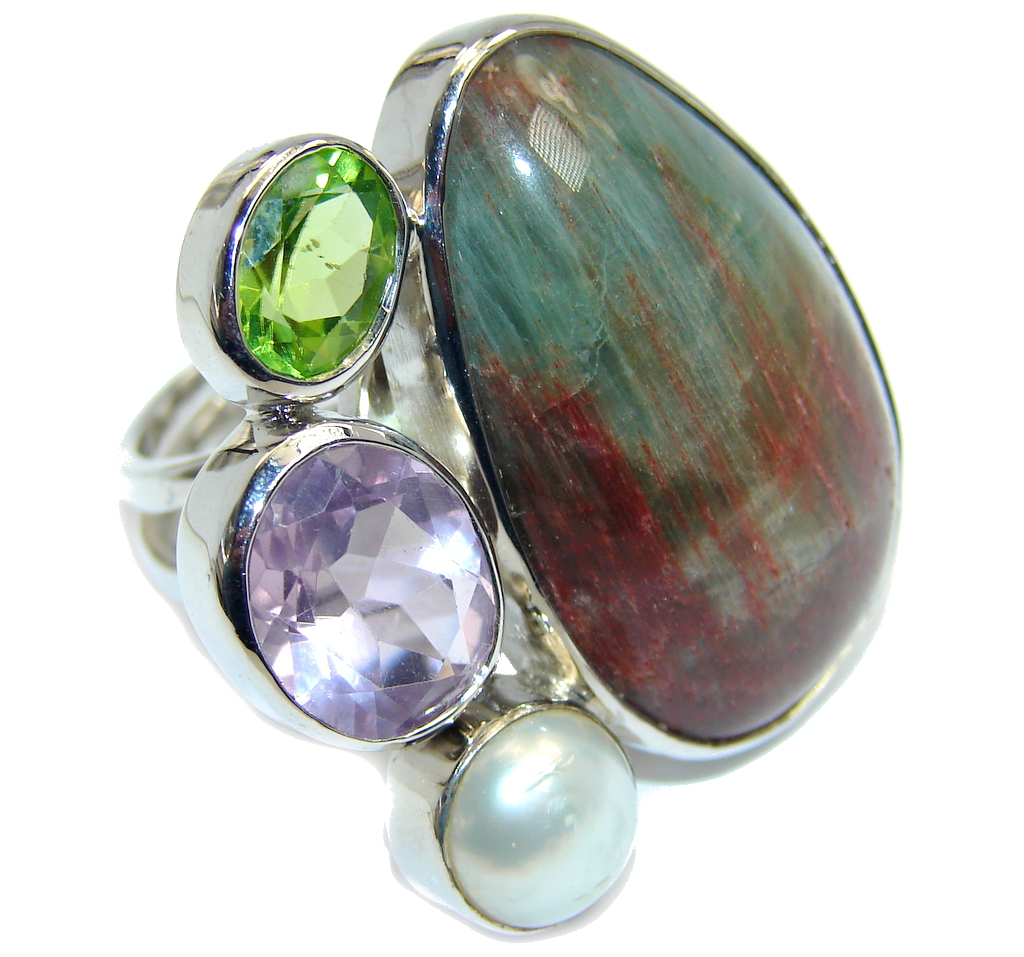 Amazing Imperial Jasper Sterling Silver Ring size adjustable