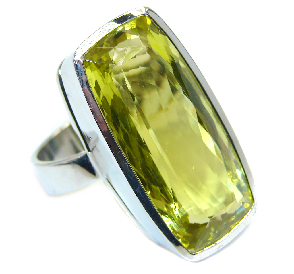Big Yellow Citrine Gold Rhodium plated over Sterling Silver Ring s. 9 3/4