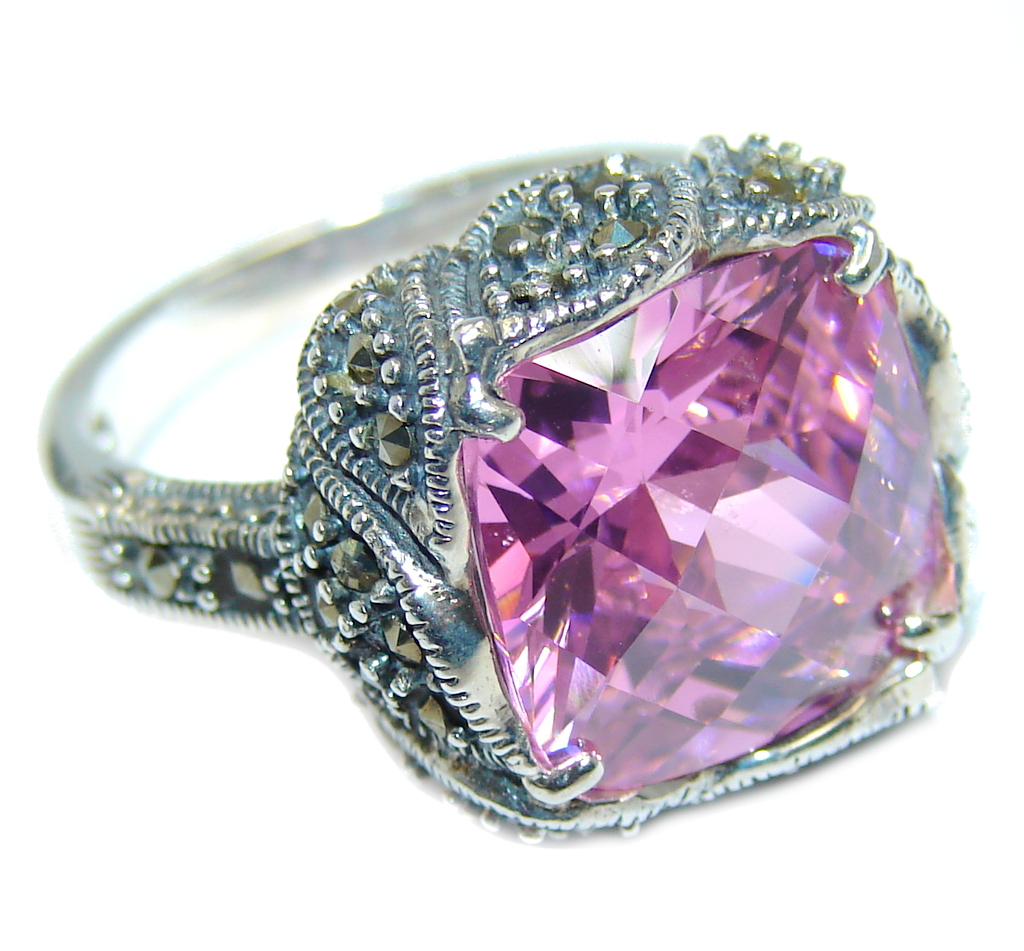 marcassite.com the marcasite jewelry place    Amazing Pink Rose Cubic Zirconia Sterling Silver Ring s. 7