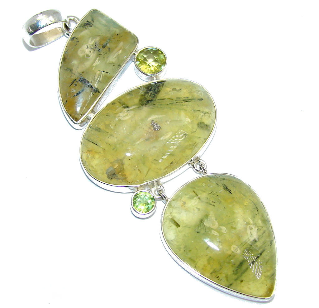 Sublime AAA+ Green Moss Prehnite Peridot Sterling Silver Pendant