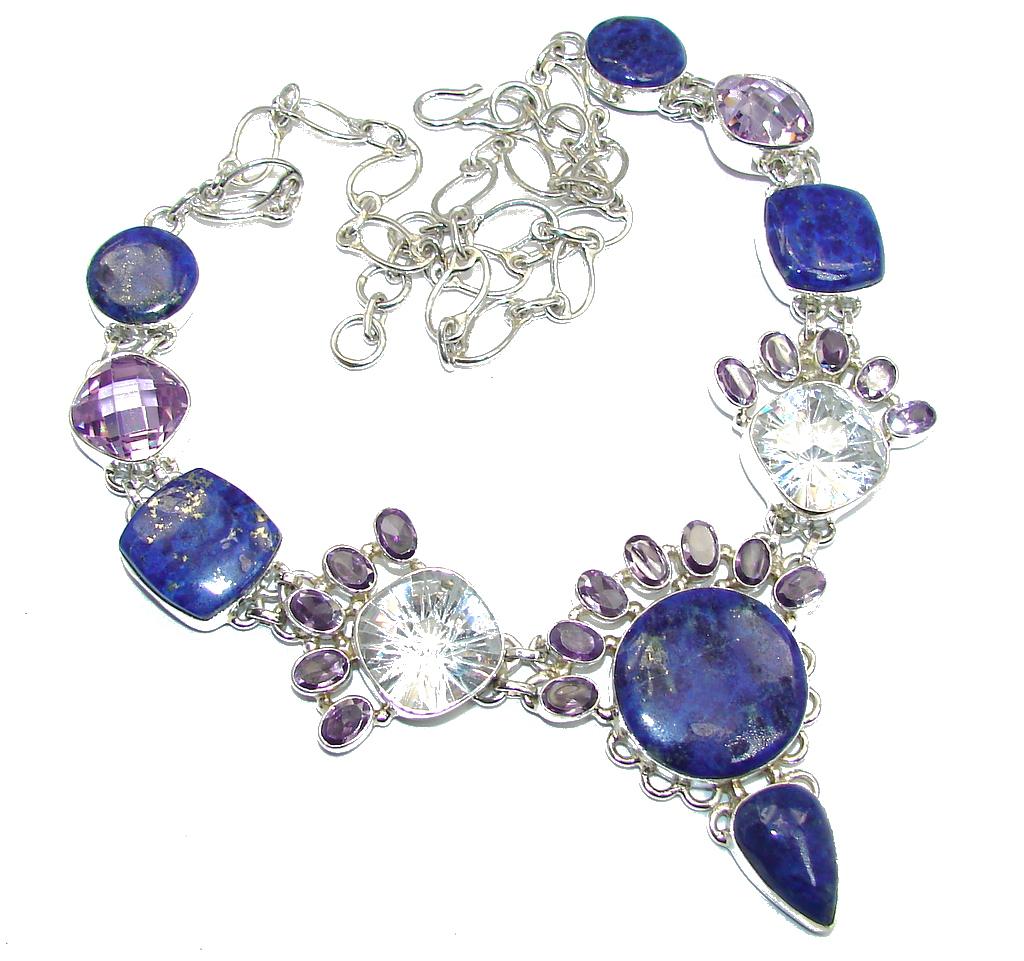 AAA Lapis Lazuli Cubiz Zirconia Sterling Silver necklace