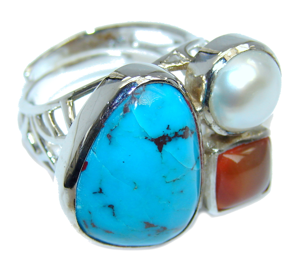 Sleeping Beauty Blue Turquoise, Rose Gold Plated, Rhodium Plated Sterling Silver Ring size adjustable