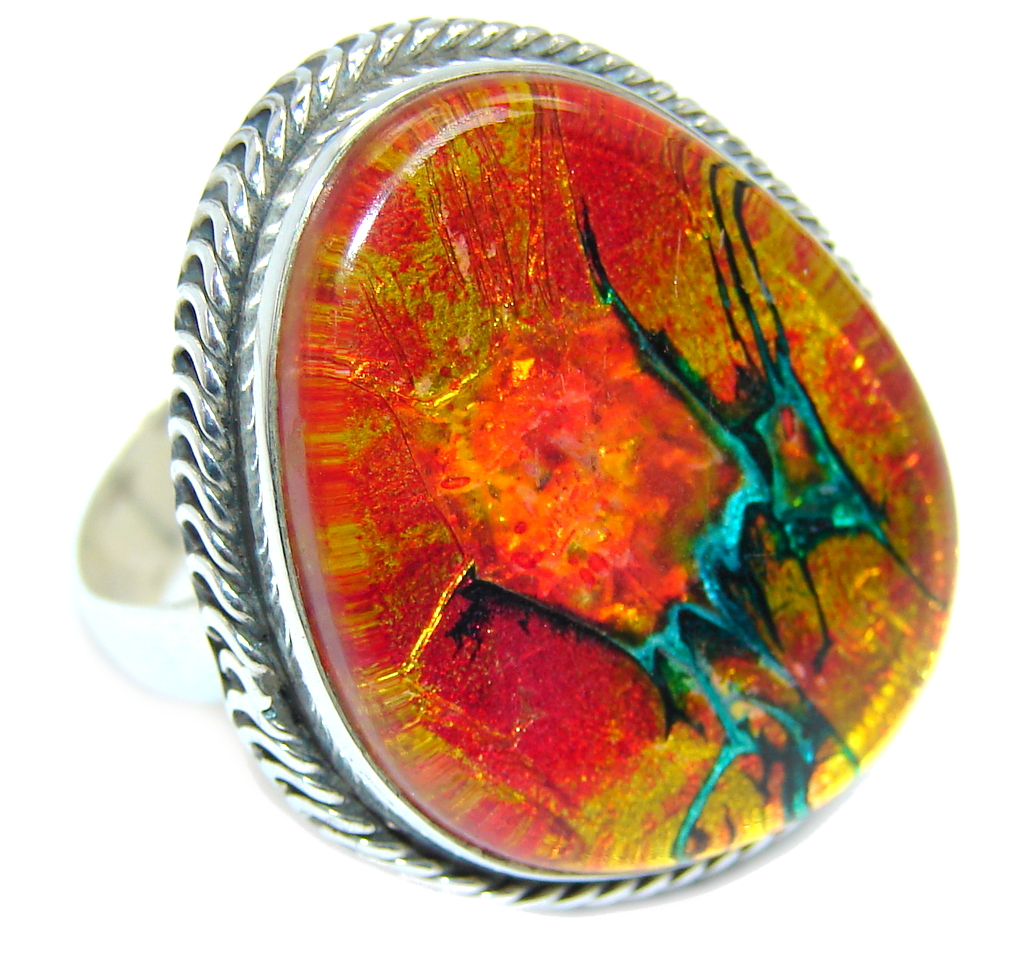 Red Galaxy Dichroic Glass Sterling Silver ring s. 10