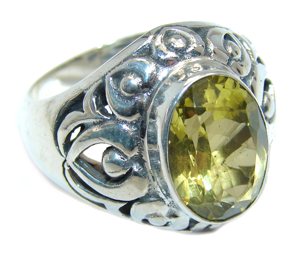 Big Yellow Citrine Bali Made Sterling Silver Ring s. 9