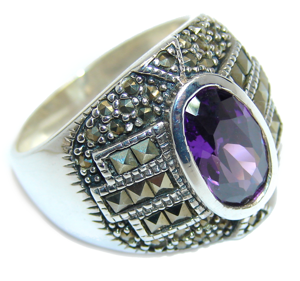 marcassite.com Amazing Created Alexandrite Marcasite Sterling Silver Ring s. 9