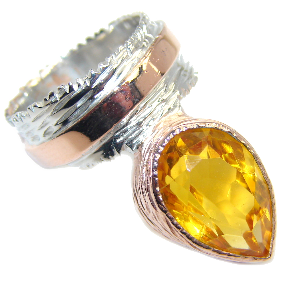 Faceted created Golden Sapphire Rose Gold plated over Sterling Silver Handcrafted Ring s. 6