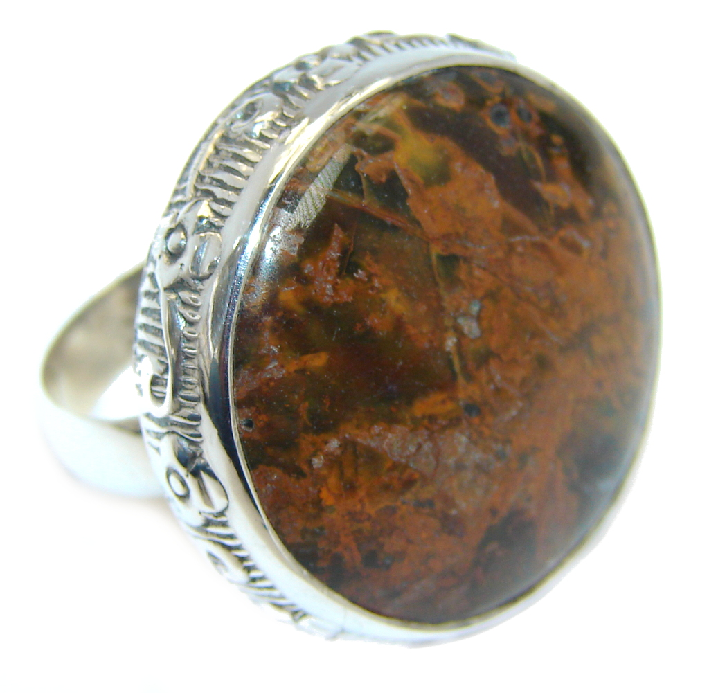 Big & Stylish Golden Obsidian Sterling Silver Ring s. 8 1/2
