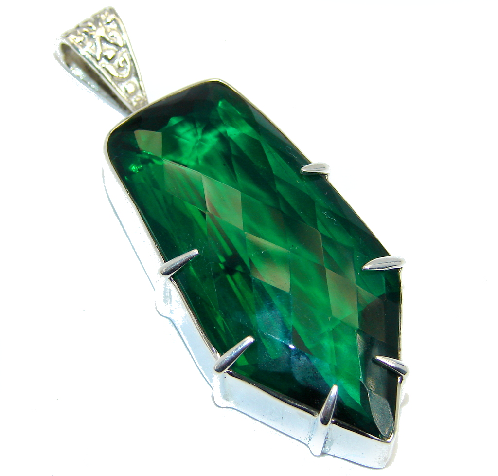 Large Simple created Emerald Sterling Silver Pendant