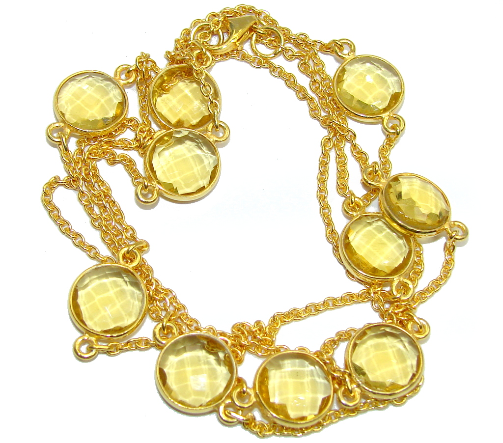 36 inches Created Citrine Sterling Silver Necklace