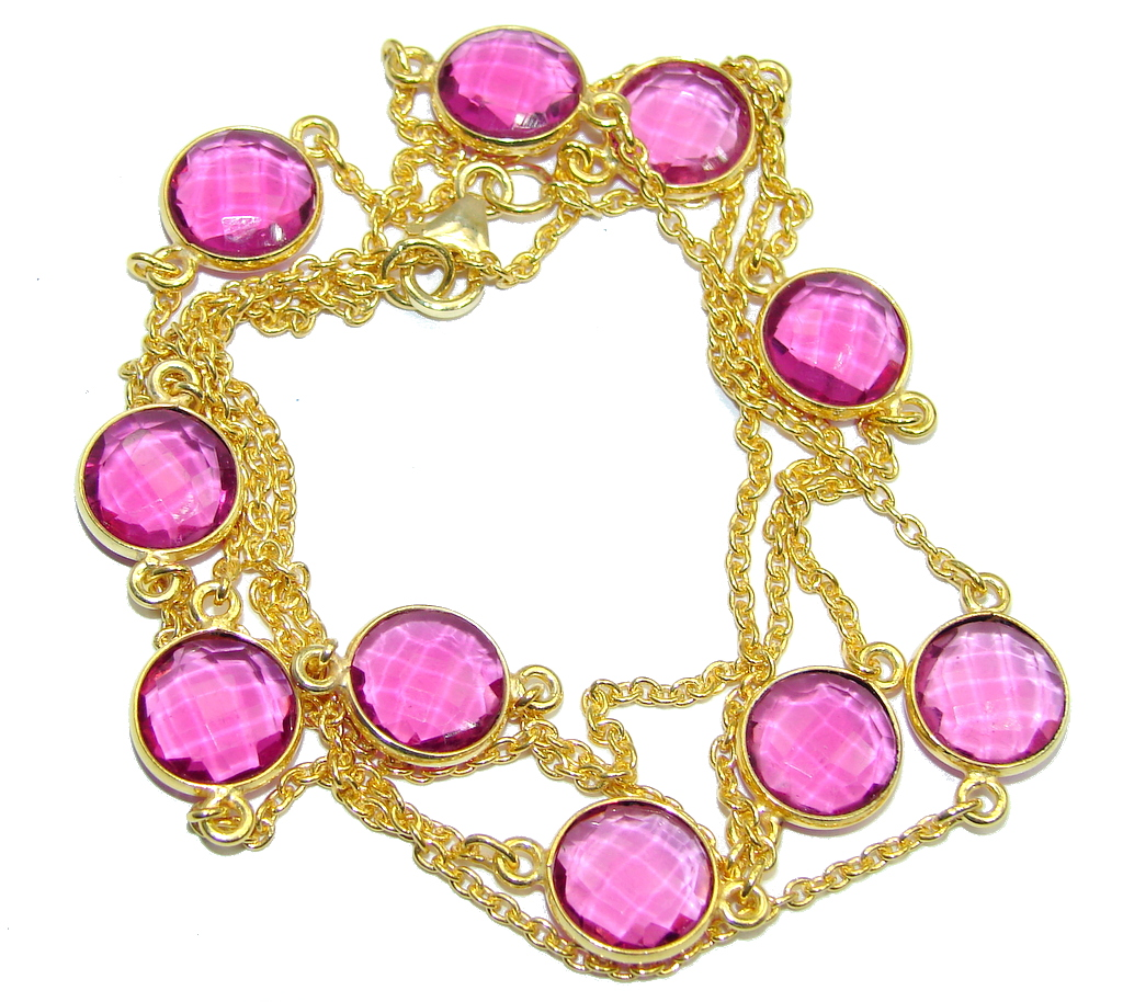36 inches created Pink Sapphire  Rose Gold plated over Sterling Silver Necklace
