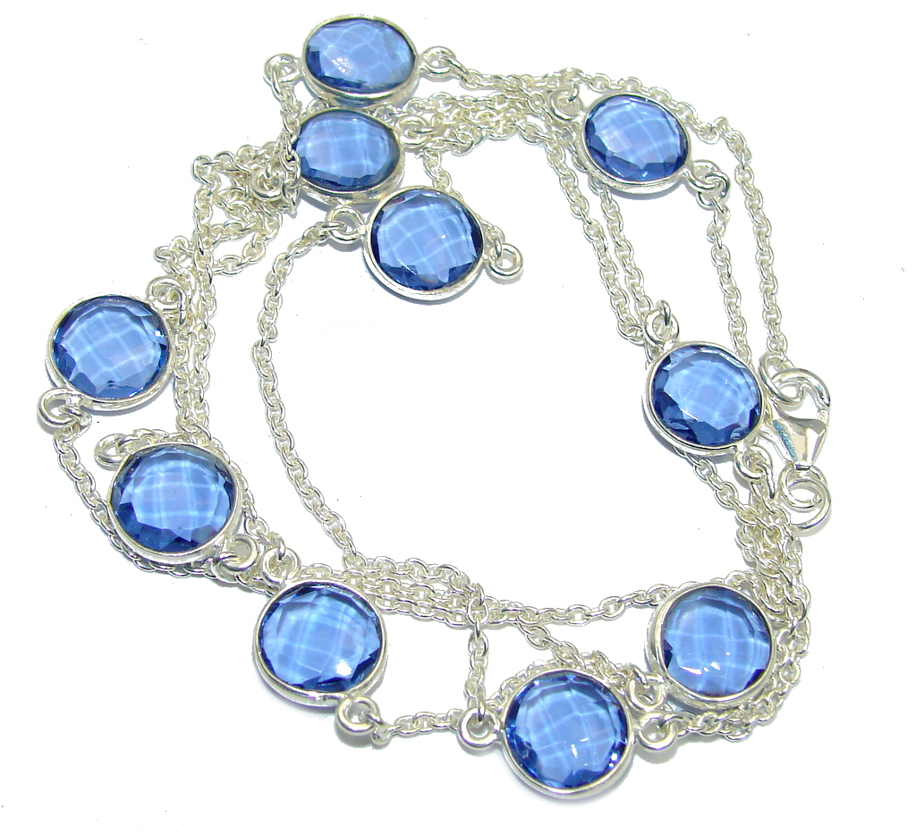 36 inches Swiss  Blue  Topaz Quartz Sterling Silver Necklace