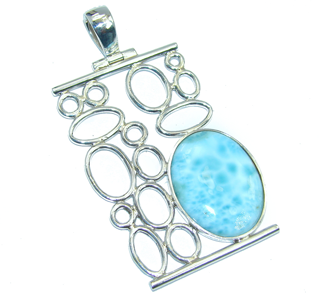 Perfect Harmony AAA Blue Larimar Sterling Silver Pendant