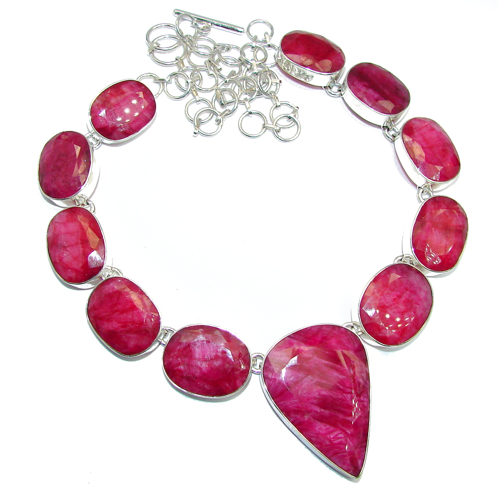 Huge Incredible Rich Design Red Ruby Sterling Silver necklace