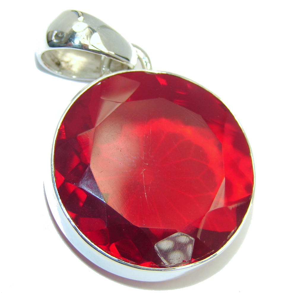 Amazing  Red Energy  Quartz Sterling Silver Pendant