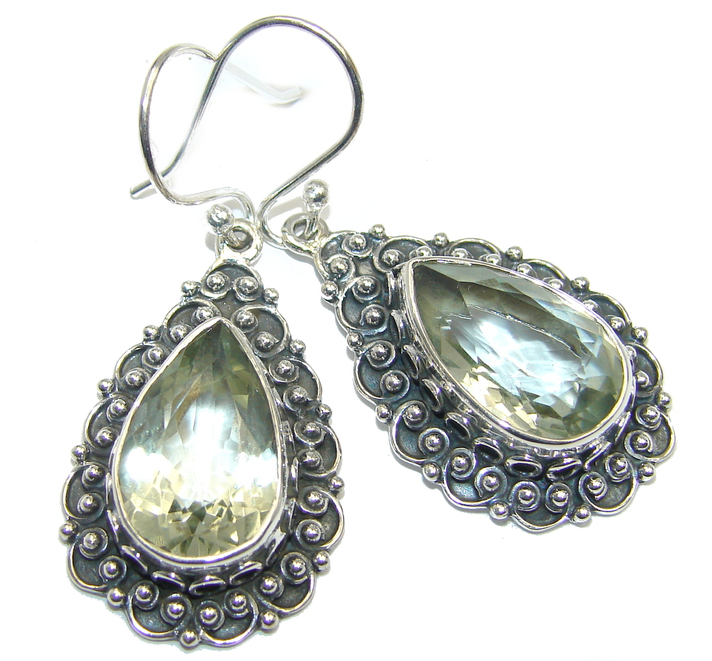 Amazing  Creation Green Amethyst Sterling Silver earrings