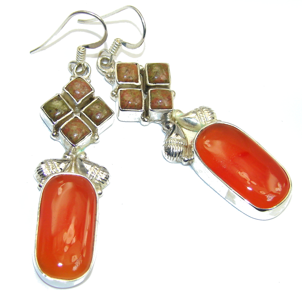 Classic Golden Carnelian Sterling Silver Earrings