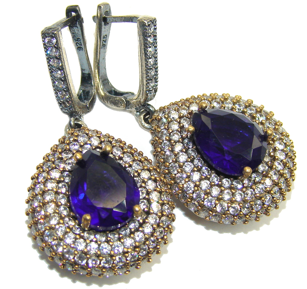Victorian Style created Sapphire Ruby Sterling Silver Earrings