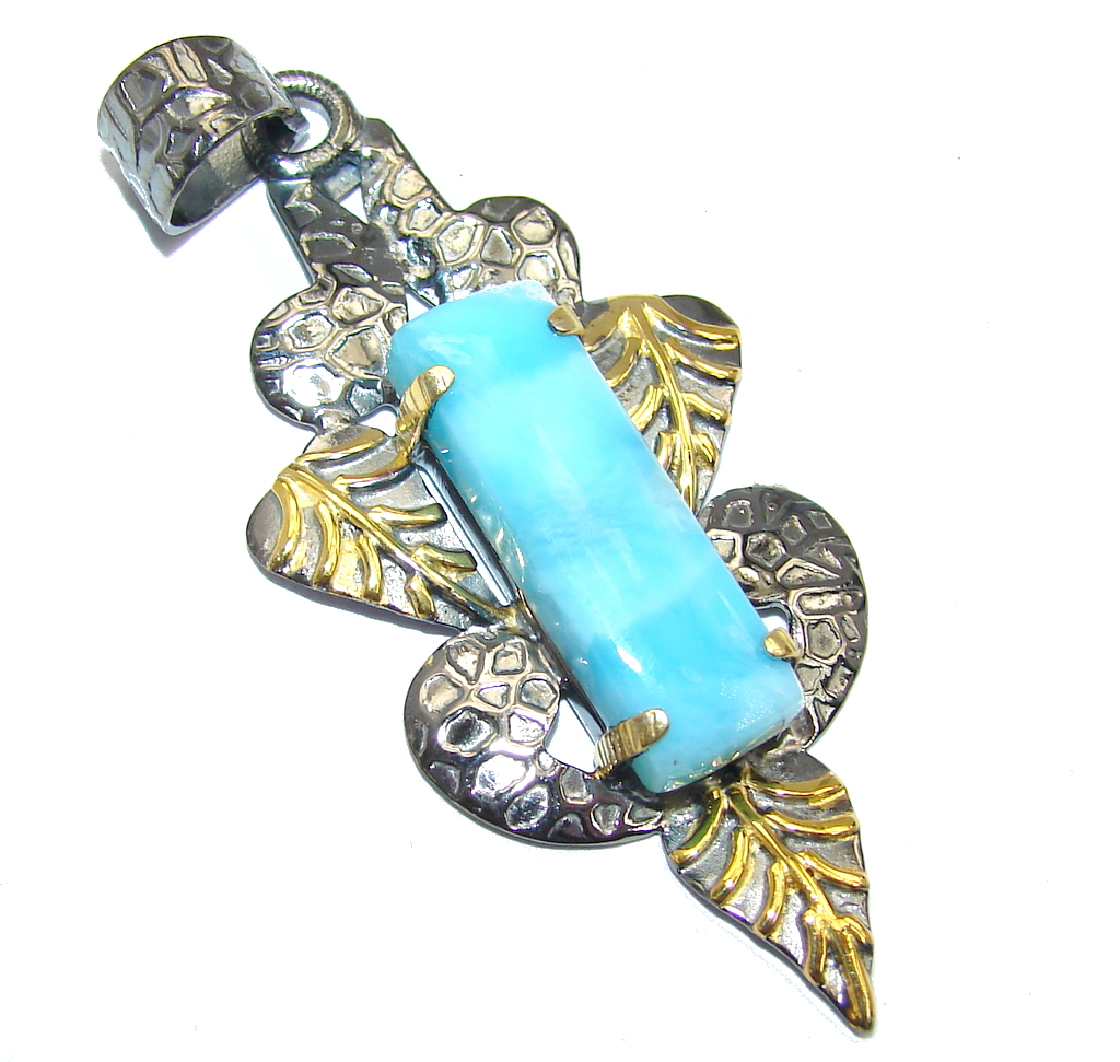Genuine Blue Larimar Gold Rhodium plated Sterling Silver Pendant