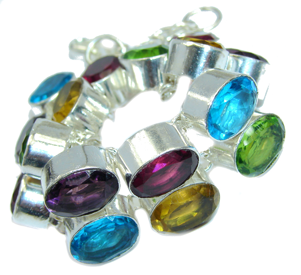 Amazing  Flawless created Multicolor  Quartz Sterling Silver Bracelet