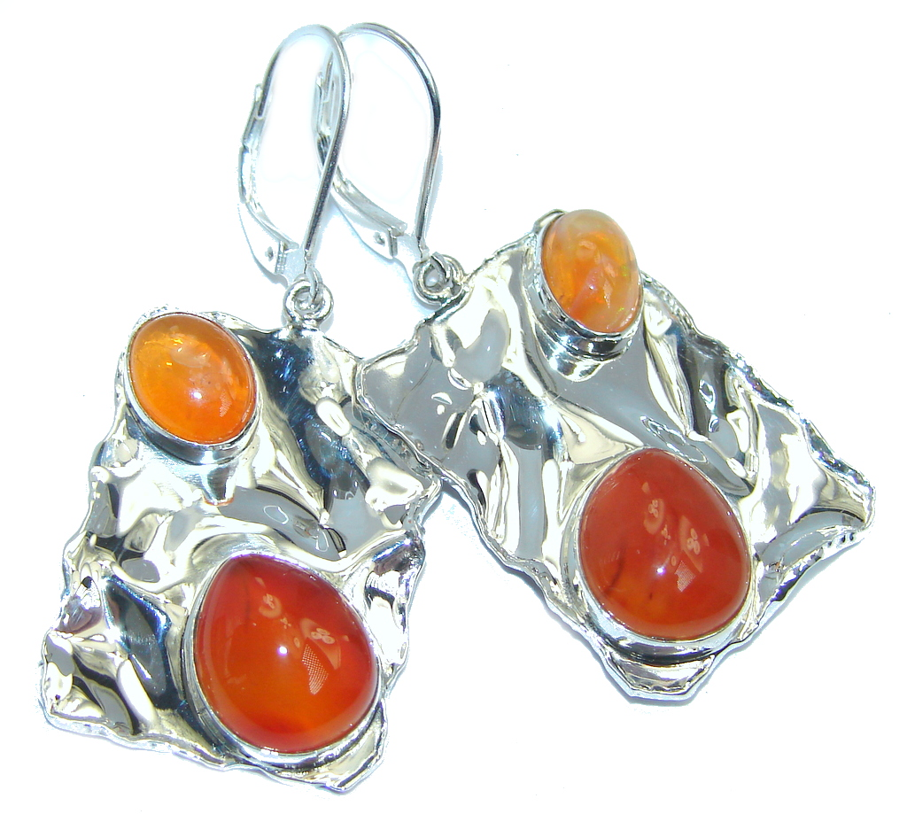 Perfect Orange Mexican Fire  Opal Carnelian hammered