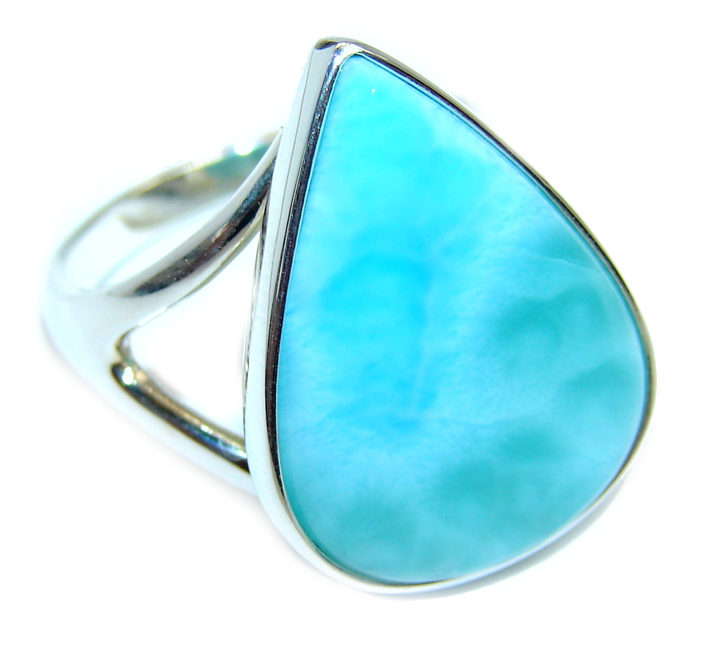 Amazing AAA quality Blue Larimar Sterling Silver Ring size 8 3/4