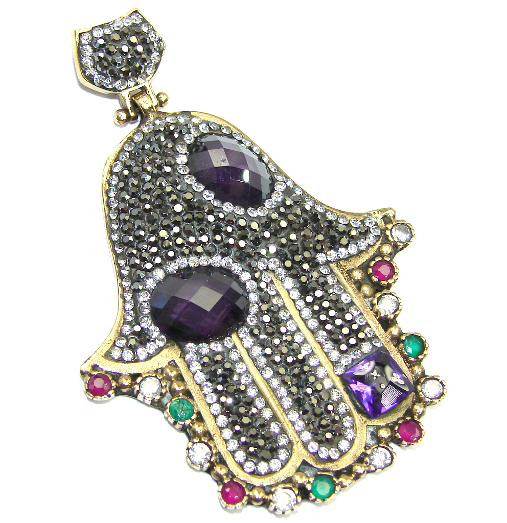 Victorian Style protective Hamsa Hand AAA hematite Sterling Silver Pendant