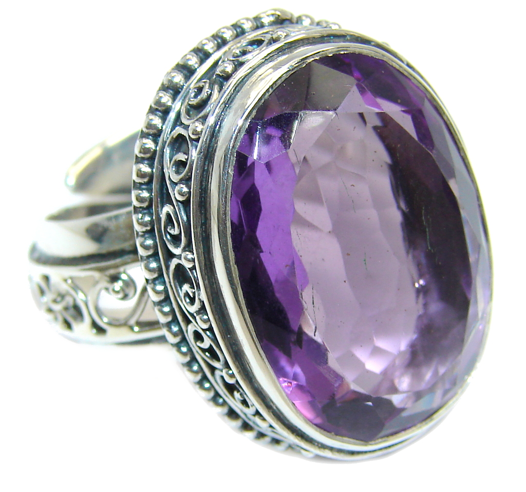 Amazing Created Amethyst  Sterling Silver Ring size adjustable