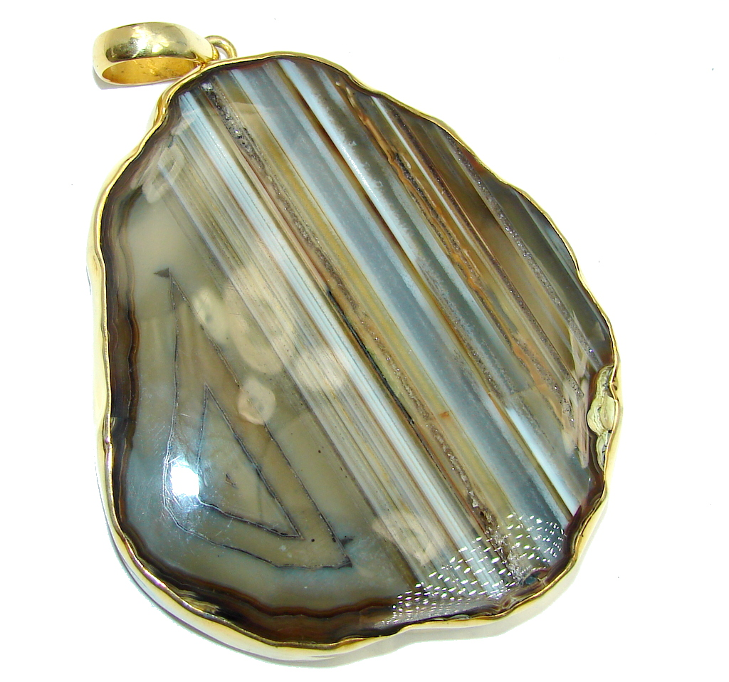 73.3 grams Classic Botswana Agate  Gold plated Sterling Silver Pendant