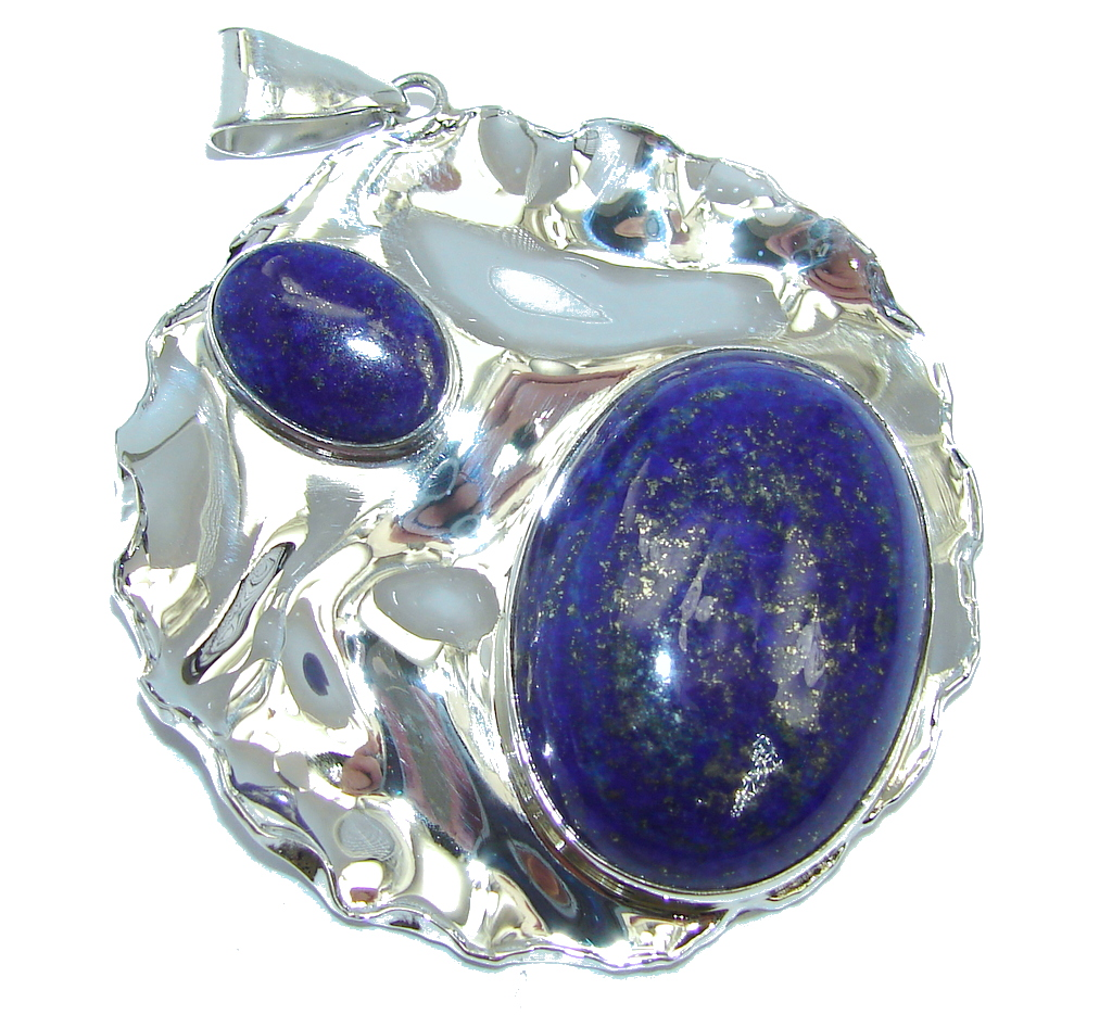 Genuine AAA Blue Lapis Lazuli hammered Sterling Silver Pendant