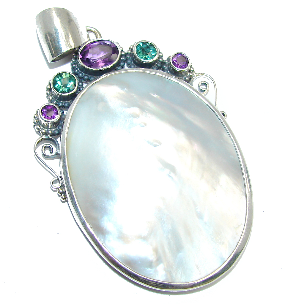 Amazing Quality Rainbow Blister Pearl Sterling Silver Pendant
