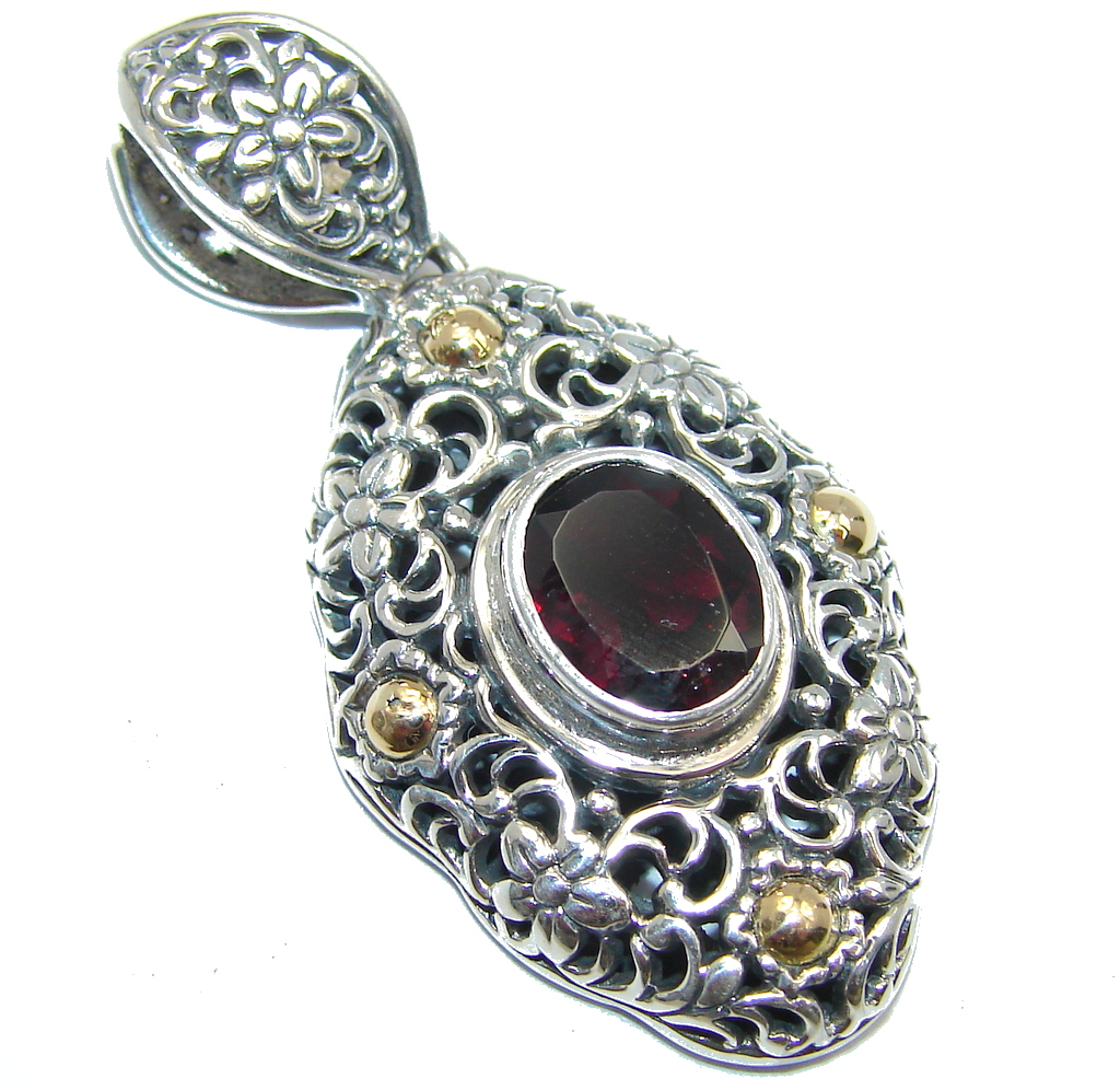 Amazing - Bali Handcrafted - Red Garnet Two Tones Sterling Silver Pendant