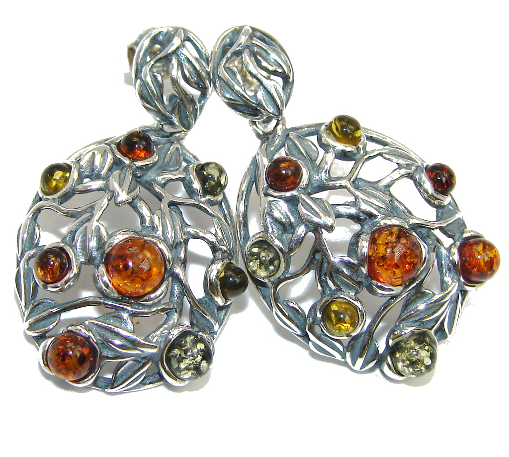 Sublime Baltic Amber Sterling Silver earrings