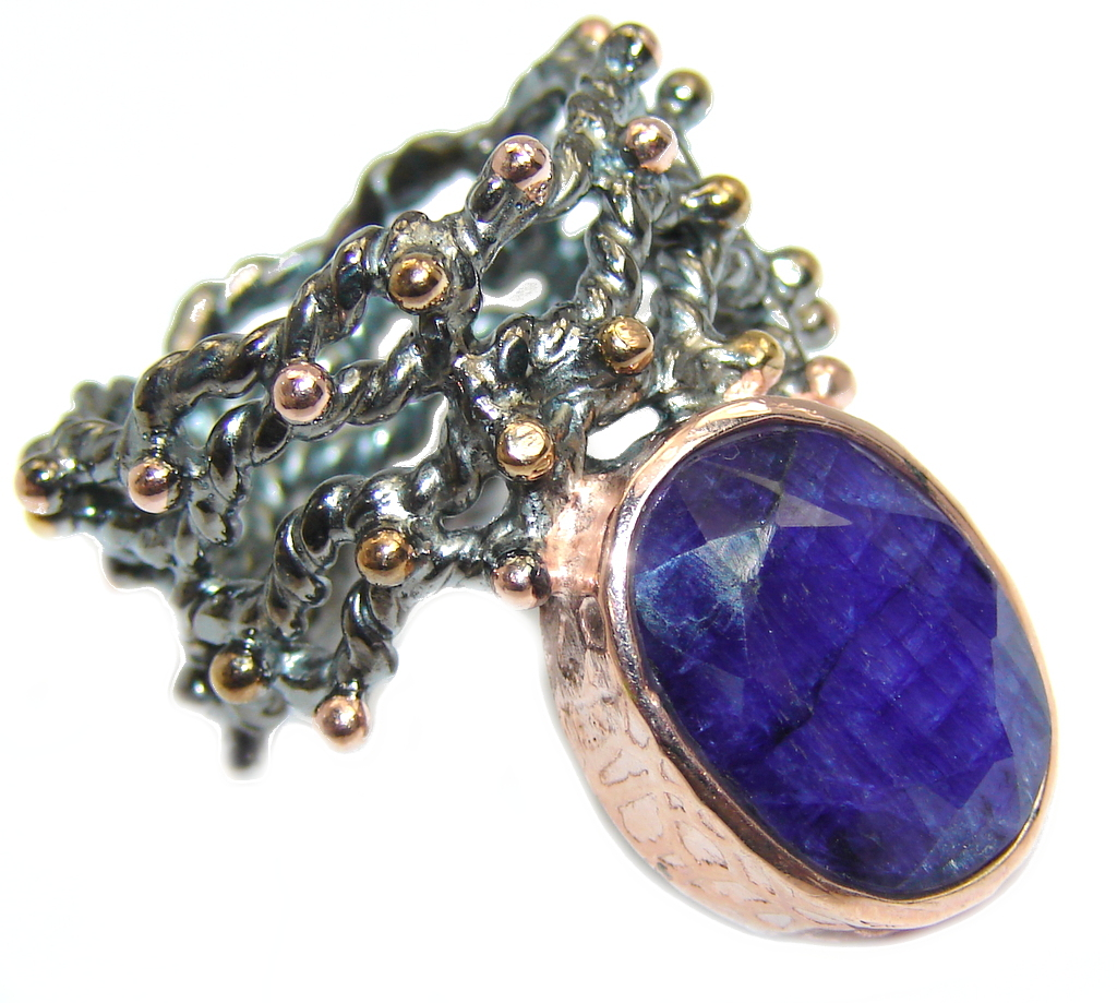 Unique Blue Sapphire Rose Gold Rhodium plated over Sterling Silver Ring s. 7 1/2
