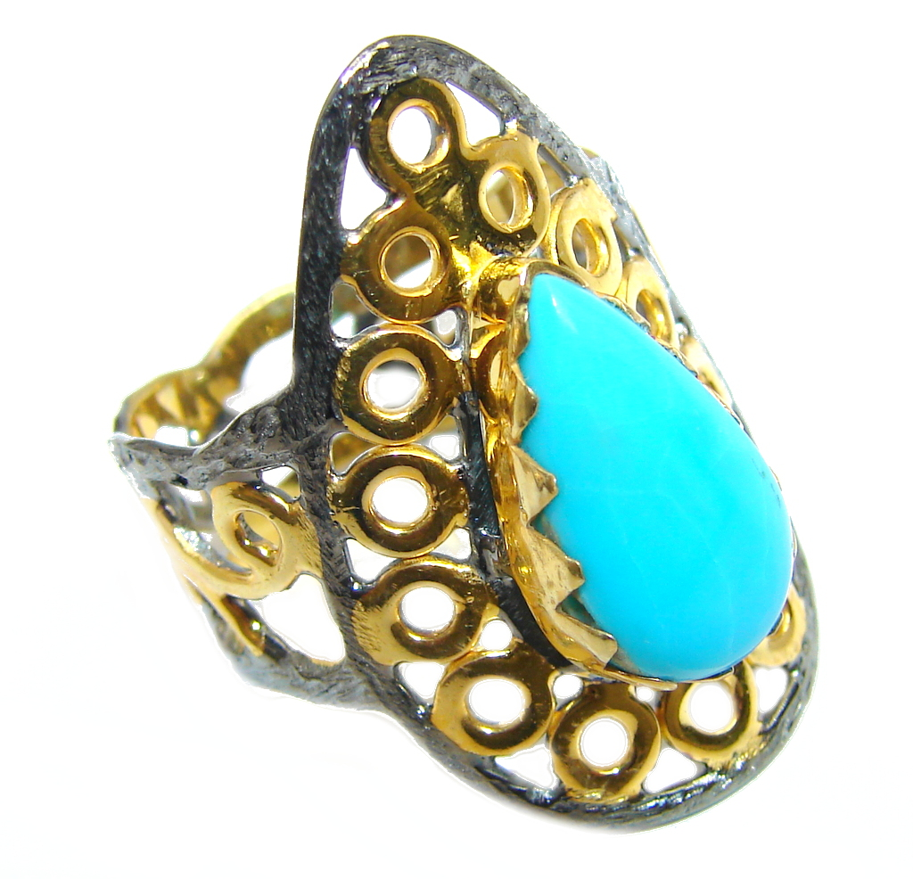 Sleeping Beauty Blue Turquoise Gold Rhodium Plated Sterling Silver Ring s. 9