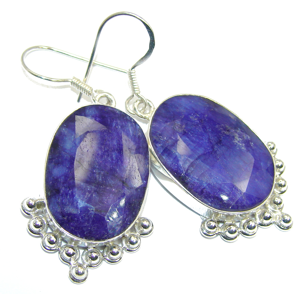 Blooming Garden Blue Sapphire  Sterling Silver earrings