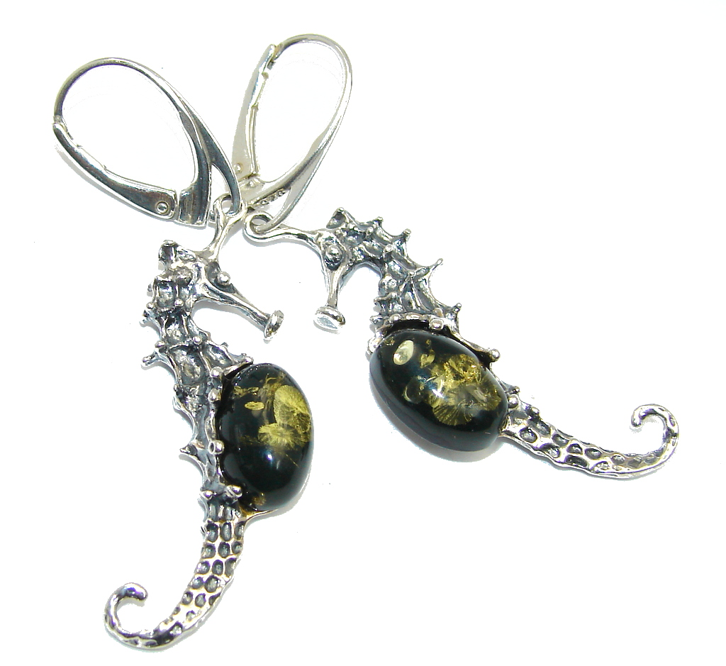 Beautiful Seahorses Green Amber Sterling Silver earrings